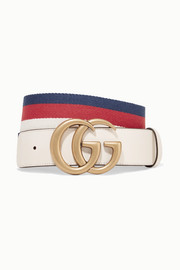 Striped canvas and leather belt