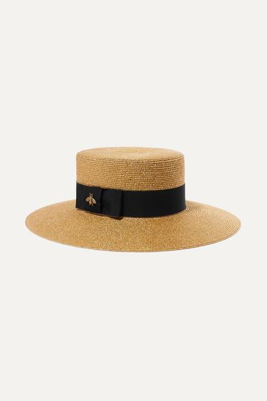 4fac9c1b132 grosgrain-trimmed-glittered-straw-hat by gucci
