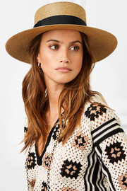 Grosgrain-trimmed glittered straw hat