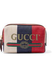 Gucci Leather-trimmed striped canvas cosmetics case