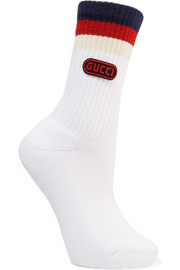 Gucci Appliquéd striped ribbed cotton-blend socks