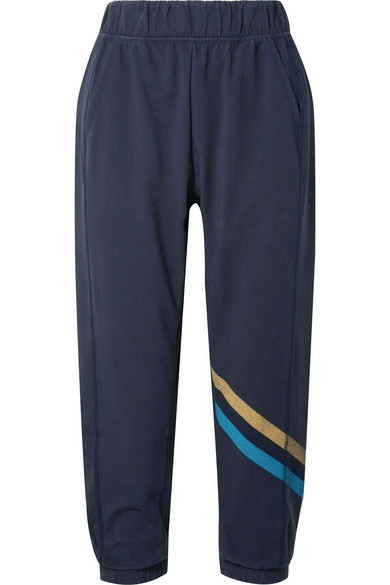 Lndr COOL DOWN CROPPED STRIPED JERSEY TRACK PANTS