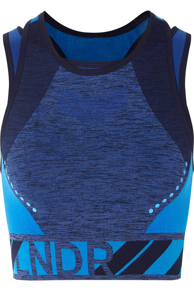LNDR - Zing Layered Stretch-knit Sports Bra - Blue
