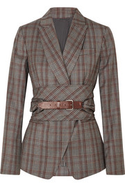 Belted plaid wool blazer