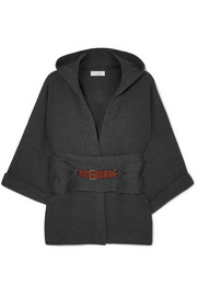 Hooded belted ribbed cashmere cardigan