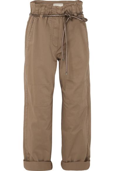 Cropped Stretch Cotton-Blend Pants, Brown