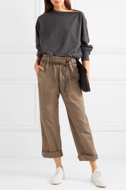 Cropped stretch cotton-blend pants