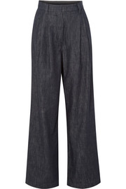 Brunello Cucinelli Embellished striped high-rise wide-leg jeans