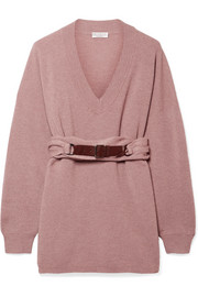 Brunello Cucinelli Belted ribbed cashmere sweater