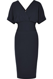 Wrap-effect stretch-wool dress
