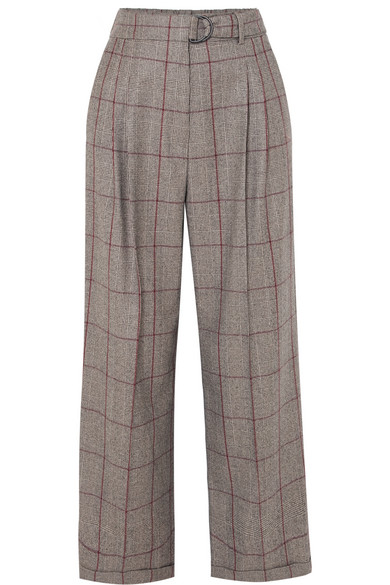 BRUNELLO CUCINELLI Prince Of Wales Checked Wool Pants in Brown