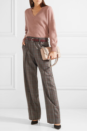 Checked wool-crepe wide-leg pants