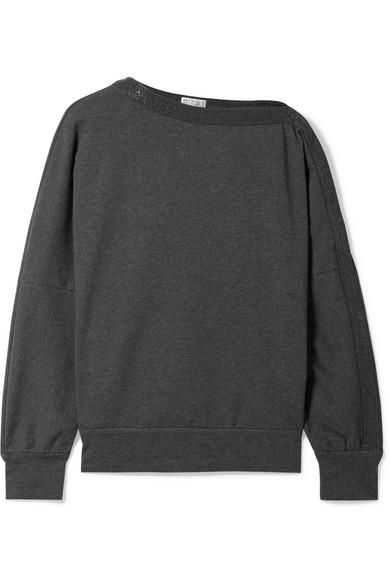 BRUNELLO CUCINELLI Long-Sleeve Pullover Sweatshirt W/ Monili Trim in Dark Gray