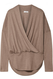 Wrap-effect mélange cashmere and silk-blend sweater