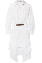 Brunello Cucinelli Oversized belted embellished silk-twill shirt