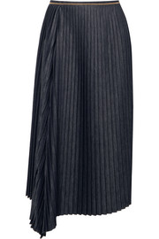 Brunello Cucinelli Embellished pleated denim midi skirt