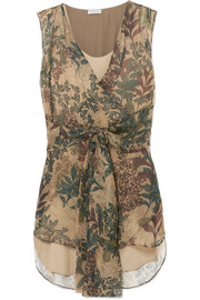 Brunello Cucinelli Botanical printed chiffon top