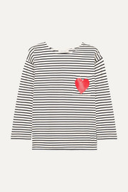 Printed striped organic cotton-jersey top