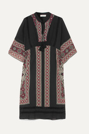 Ezri crochet-trimmed printed crepe de chine dress