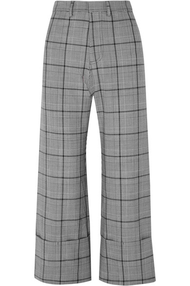 Bacall Cropped Checked Woven Wide-Leg Pants, Gray Plaid