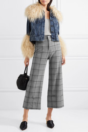 SEA Bacall cropped checked woven wide-leg pants