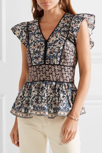 Gemma Printed Cotton Poplin Peplum Top by Sea