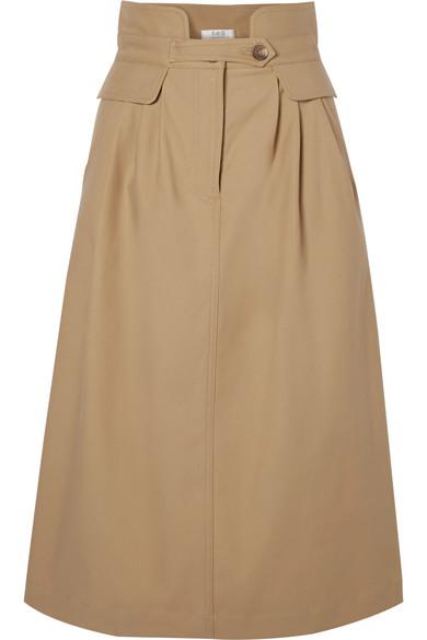 SEA Kamille Stretch-Cotton Twill Midi Skirt in Brown
