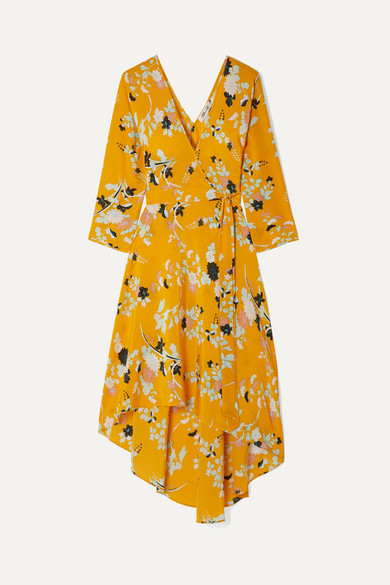 Eloise Floral-print Silk Wrap Dress - Yellow Diane Von F 4pyUGRO