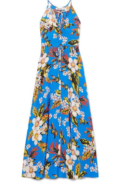 Floral-Print Silk-Jersey Maxi Dress in Blue