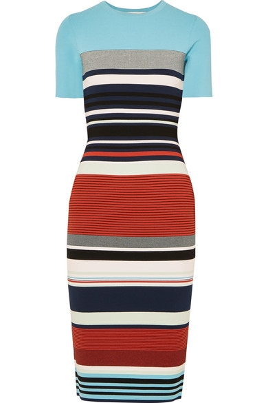 Diane von Furstenberg - Striped Stretch-jersey Midi Dress - Blue