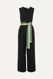 Wrap-effect belted crepe jumpsuit