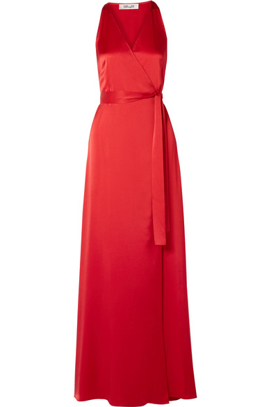 Sleeveless Floor-Length Wrap Dress in Red