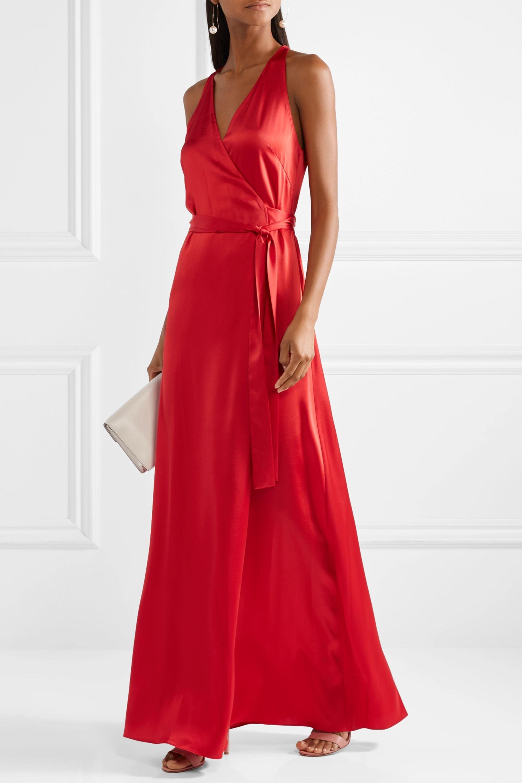 Diane von Furstenberg Silk-satin wrap maxi dress