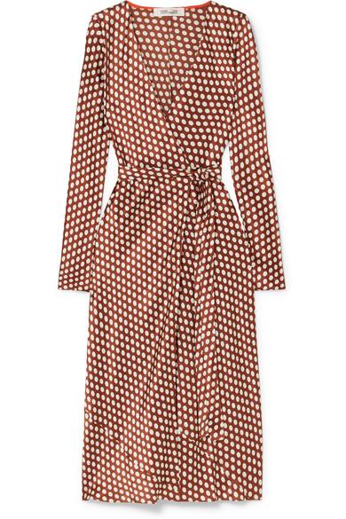 a73ad931dcc3dc Diane Von Furstenberg Woman Tilly Polka-Dot Satin Midi Wrap Dress Brown