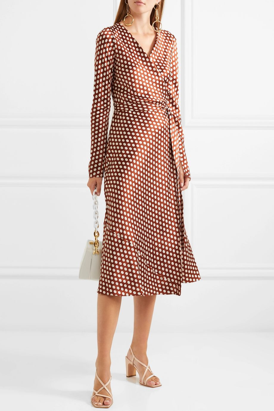 Diane von Furstenberg Tilly polka-dot silk-satin wrap dress