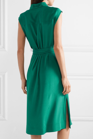 Belted Silk Crepe De Chine Dress by Diane Von Furstenberg