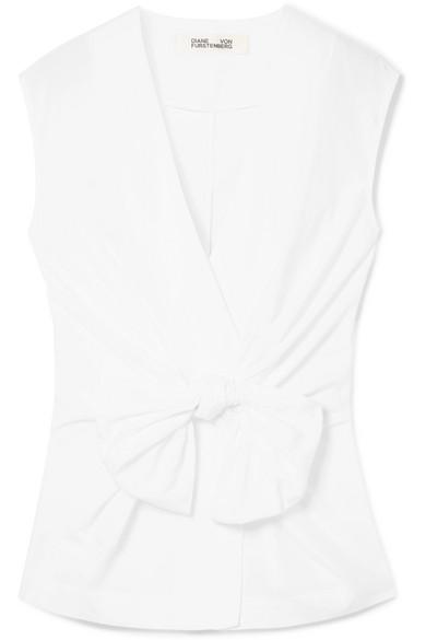 Diane von Furstenberg - Tie-front Cotton-poplin Wrap Blouse - White