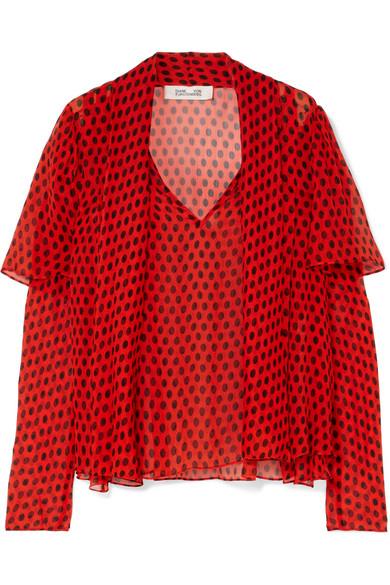 Diane von Furstenberg - Pussy-bow Polka-dot Crinkled Silk-chiffon Blouse - Red