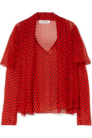 Pussy-bow polka-dot crinkled silk-chiffon blouse