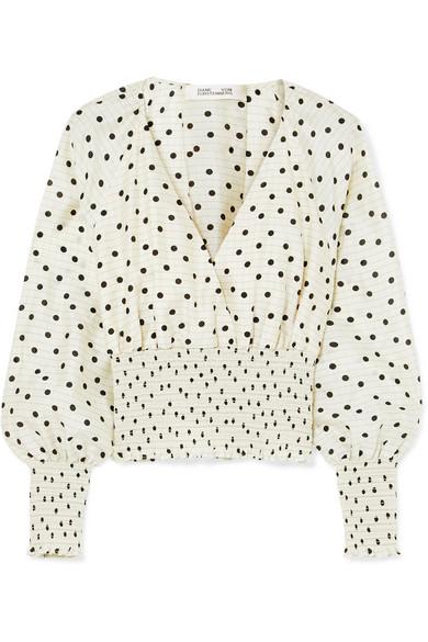 96b0a4e3f75 Diane von Furstenberg   Shirred polka-dot silk top   NET-A-PORTER.COM