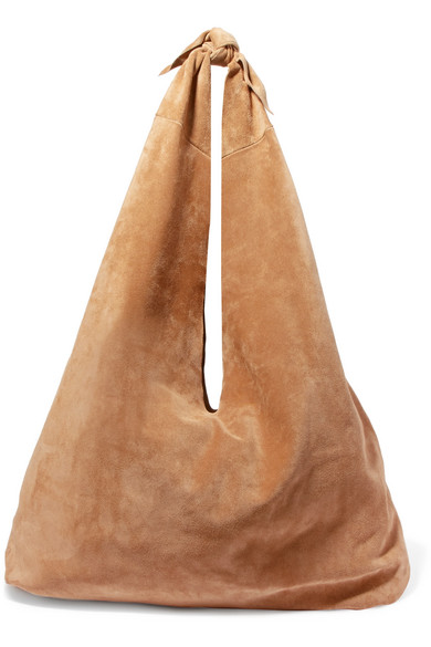 Bindle Suede Shoulder Bag in Beige