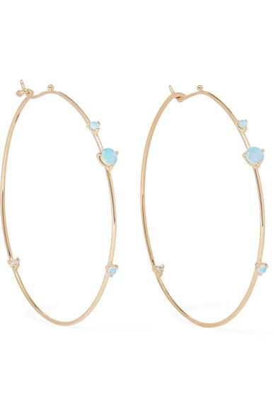 Wwake 14-KARAT GOLD, OPAL AND DIAMOND HOOP EARRINGS
