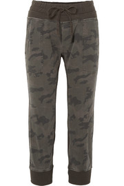 Camouflage-print cotton-jersey track pants