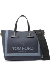 T mini leather-trimmed printed denim tote
