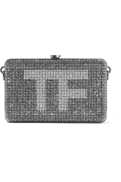 Crystal-Embellished Suede Clutch in Silver
