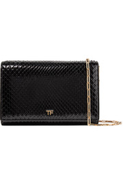 Leather-trimmed python shoulder bag