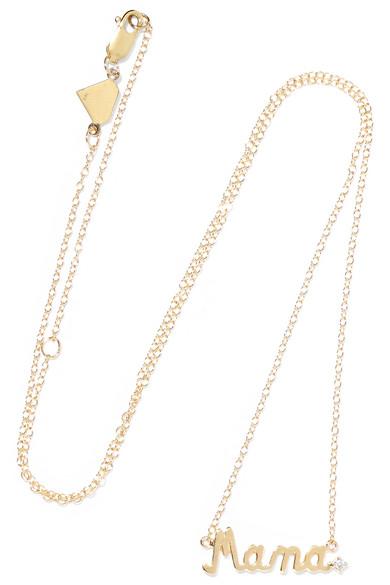 ALISON LOU Mama 14-karat gold diamond necklace