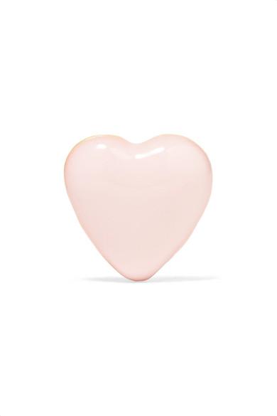 ALISON LOU Tiny Heart 14-karat gold and enamel earring