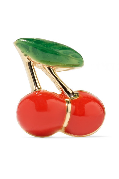 ALISON LOU Cherry 14-karat gold and enamel earring
