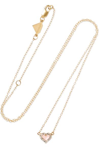 ALISON LOU 14-karat gold, diamond and enamel necklace